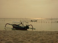Boat on the beach Sunset Nusa Lembomgan Bali Indonesia