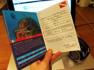 Logbook scuba diving Wreck Trek Florida Keys