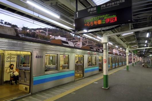 Taking the train from Tokyo to Izu Japan - Atami Station