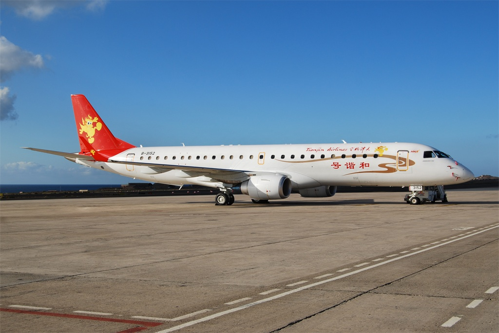 Embraer ERJ 190-100 IGW B-3152 (msn 19000274) of Tianjin Airlines stopped at Gran Canaria on delivery.  Copyright Photo: Tomas Asensio Lopez.