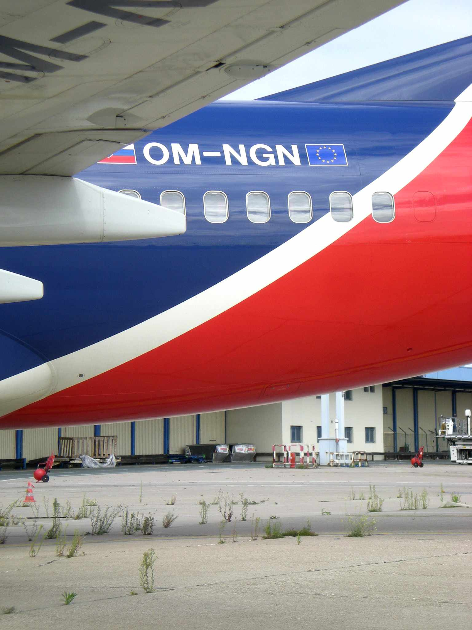 SkyEurope's Boeing 737-7GL OM-NGN (msn 34759) has been impounded at Paris (Orly) now for over 70 days (the weeds are now growing under the aircraft!).  Copyright Photo: Pepscl.