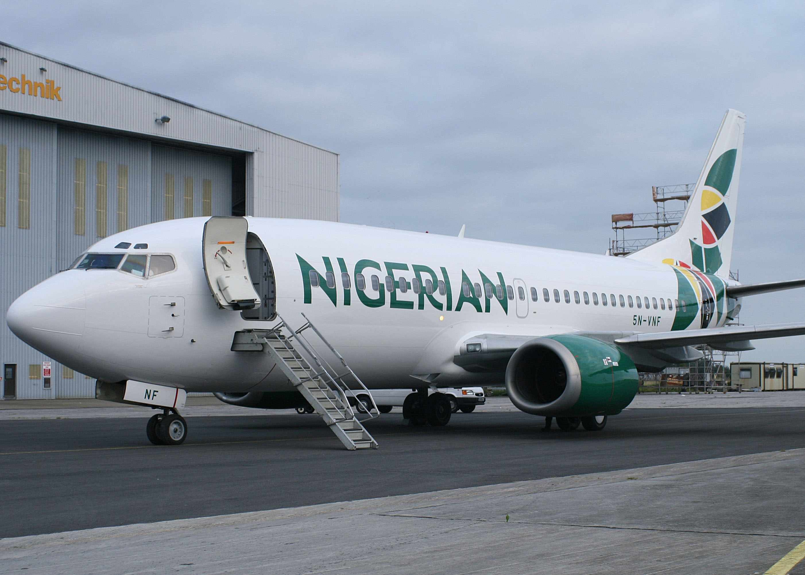 The first aircraft to be repainted at Shannon is this Boeing 737-33V registered 5N-VNF (msn 29341). The airliner was later routed from Shannon to Palma de Mallorca and then Lagos on September 17, having arrived in SNN in the old Virgin Nigeria colors on September 11.  Copyright Photo: Trevor Mulkerrins.