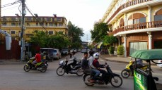 Driving in Siem Reap can be pretty hair raising. Motorbikes and tuktuks cutting in and out of traffic.