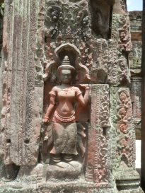 Apsaras, or heavenly maidens, are common in the temples. This one is at Preah Khan.