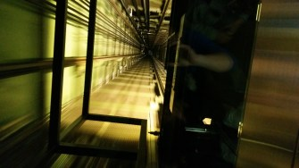 The elevator shaft at the Berlin TV Tower, as seen during our 40-second descent.