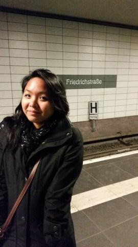 Awaiting the U-Bahn at Friedrichstrasse.