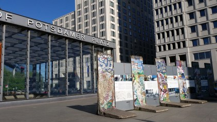 You'll likely pass through Postdamerplatz as you travel along Berlin. Remnants of the Berlin Wall are featured here. Photo © David Greer.