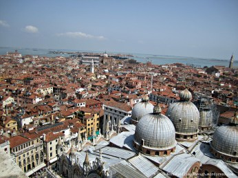 View from the Campanile: the domes of St. Mark's Basilica and the rest of the city of Venice.