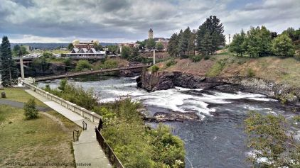 The Riverfront Park, the Spokane River, and the city of Spokane.