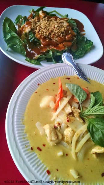 Lucky Thai's swimming rama and yellow curry