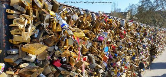 """Love locks"" on Paris bridges across the Seine"