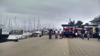 One of Chicago's piers. Wide area for walking and biking.