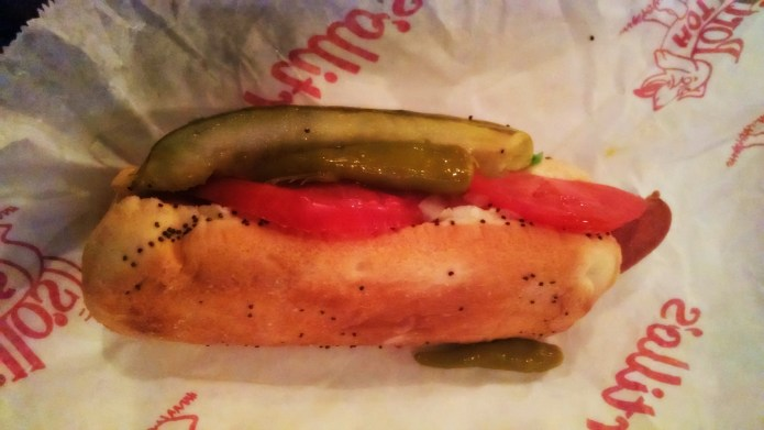 Classic Chicago dog from Portillo's. Love the pickle!