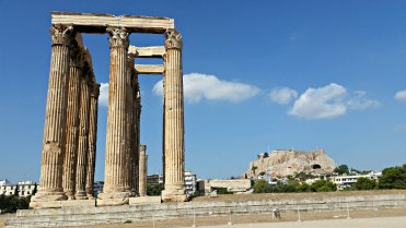 The Temple of Olympian Zeus, with the Acropolis in the background.