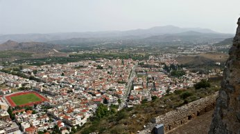 Inland from Palamidi Fortress--the city of Nafplio.