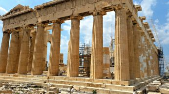 You can see the original and restored marble, as well as some of the friezes along the top of the Parthenon.