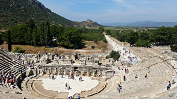 The Great Theater of Ephesus, with the Harbor Road stretching into the distance.