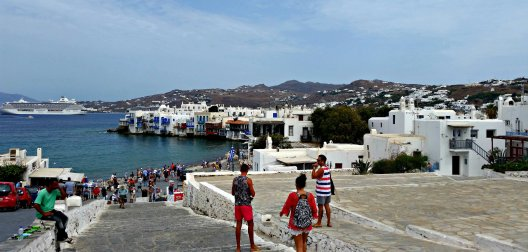 View of Mykonos town from the windmills