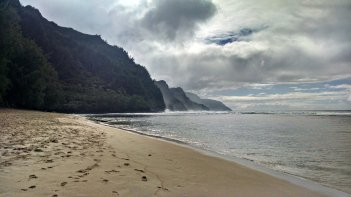 The Na Pali Coast as seen from Ke'e Beach.