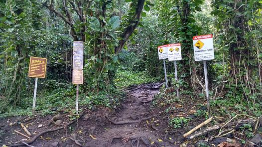 They are not kidding around with this trail. Warning signs all over the Kalalau trailhead!