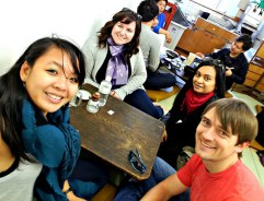 The author and friends sitting at a tatami table in a Tsukiji restaurant.
