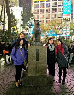 With Hachiko, Japan's famous loyal dog.