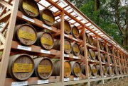 Casks of wine from Bourgogne in France, sent here to be consecrated in the name of French-Japanese friendship.