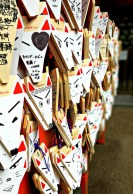 Ema, Shinto wishing plaques, in the shape of foxes.