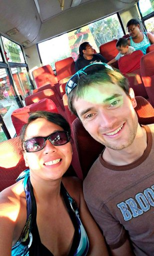 Inside a regular bus from Port Denarau