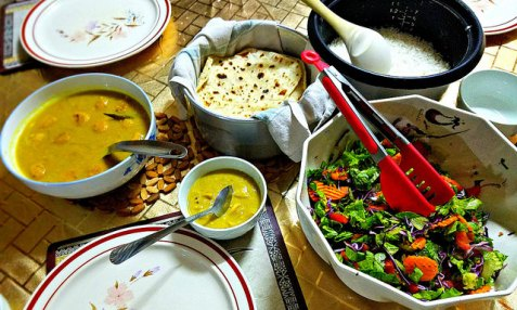 One of Malti's dinner spreads.