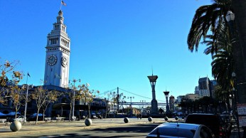 The Ferry Building and the Embarcadero.