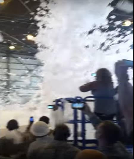 The AFFF system is tested in a celebratory fashion at Travis AFB, California. Potentially cancerous foam falls like snowflakes among the crowd. YouTube - Allen Stoddard