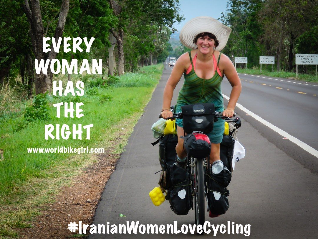 Photo showing myself cycling and the hashtag campaign Iranian Women Love Cycling.