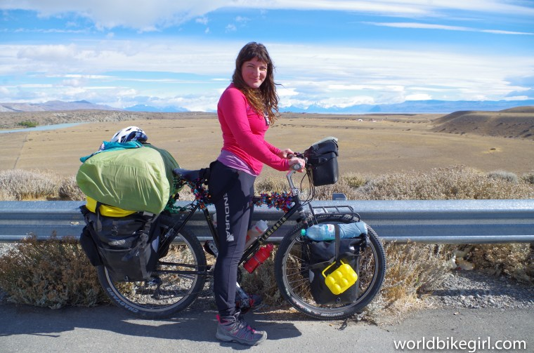 Photo of me on bicycle cycling the world.
