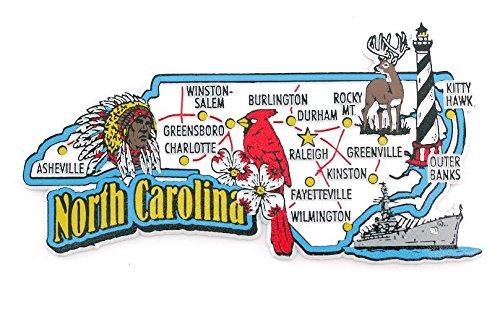 North Carolina State Map and Landmarks Collage Fridge Collectible ...