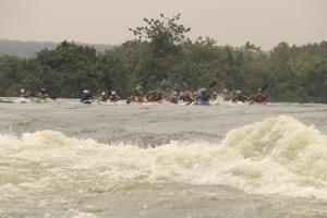 Kayakers in Uganda on the White Nile