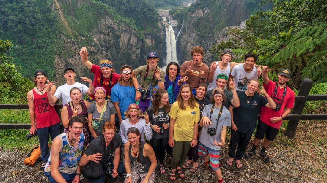 The World Class family posed in front of San Rafael Falls.