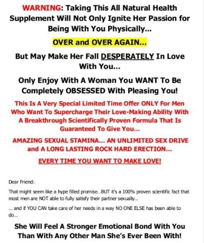 Direct Mail Sales Letter for Male Enhancement Supplement