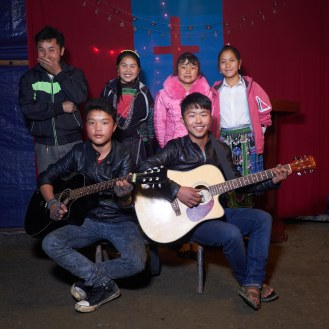 Portrait of a Hmong church band.