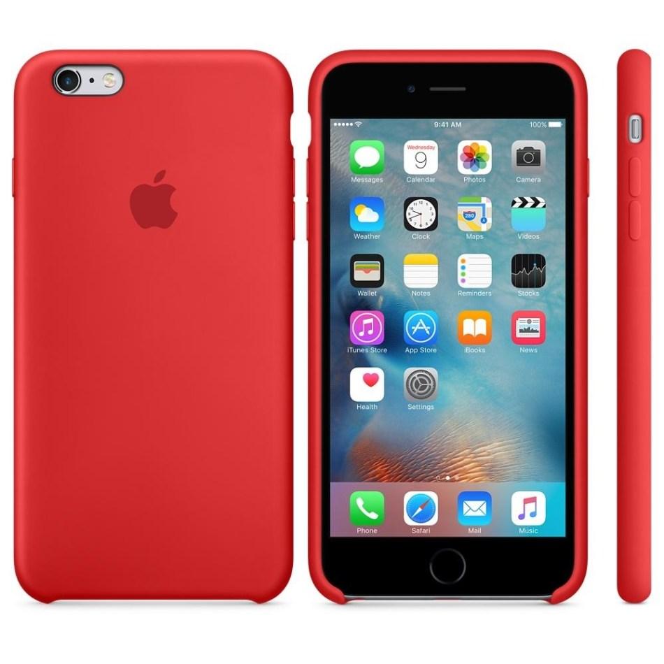 Capac protectie spate Apple Silicone Case Red pentru iPhone 6s Plus, MKXM2ZM A