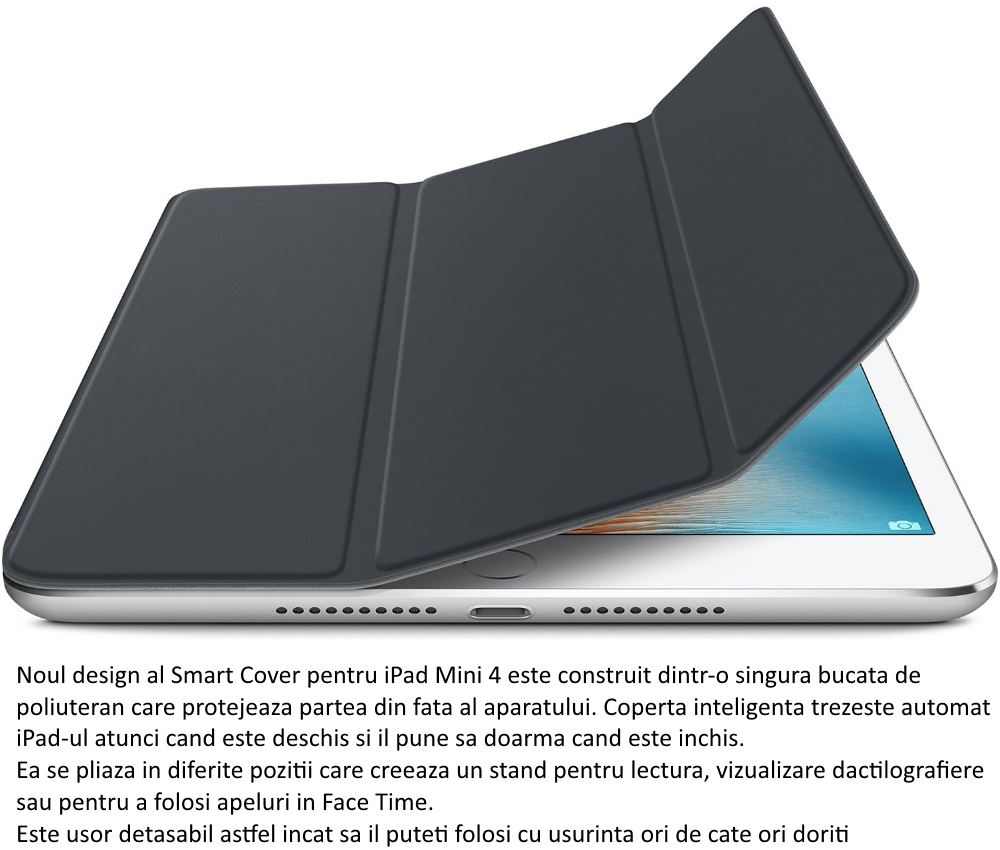 Husa Stand Apple Smart Cover pentru iPad mini 4, MKLV2ZM A Charcoal Gray