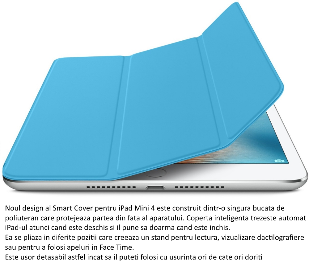 Husa Stand Apple Smart Cover pentru iPad mini 4, MKM12ZM A Blue