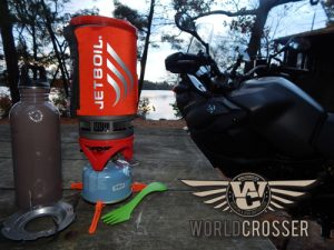 The Jetboil Flash stove is great addition to your adventure motorcycle camping kit.