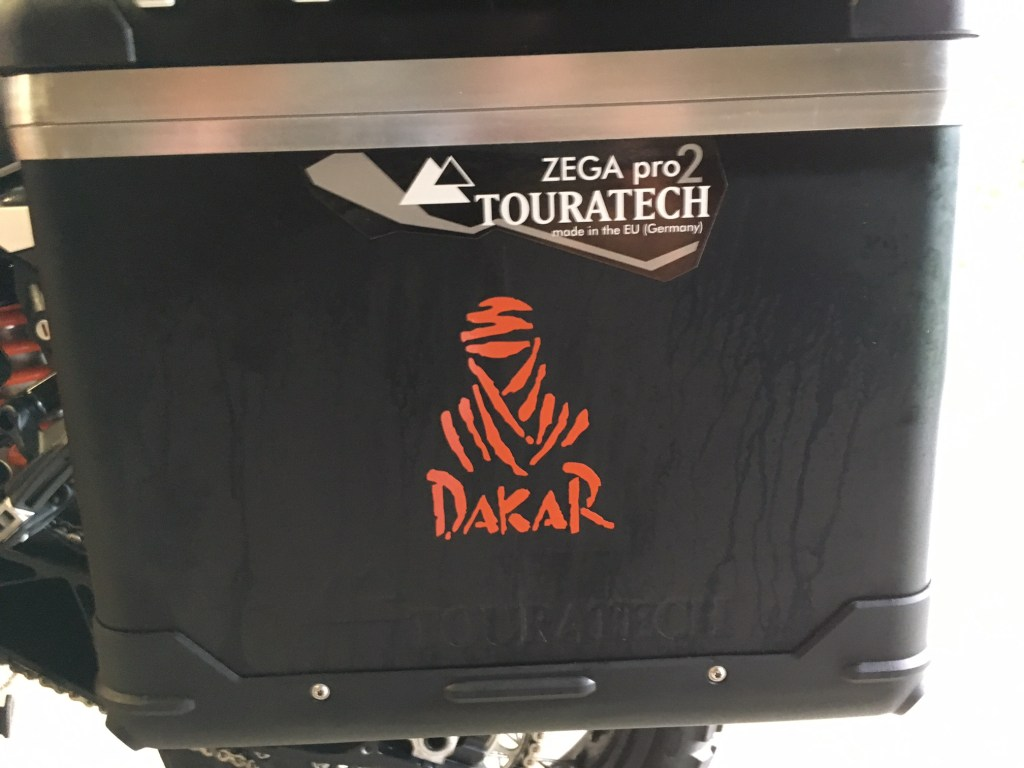 dakar decal on pannier