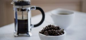 French Press Coffee and Beans