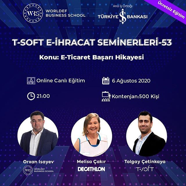 Decathlon e-commerce manager Melisa Çakır will be our guest during the Cross-Border E-Commerce Webinars week. Çakır will tell the e-commerce success story in his career!