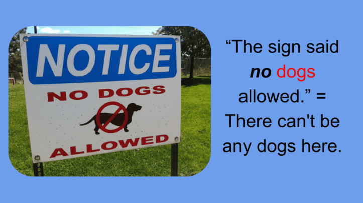 The sign said no dogs allowed. = There can't be any dogs here.