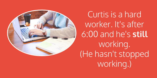 adverbs Yet Still Already Curtis is a hard worker. It's after 6:00 and he's still working.