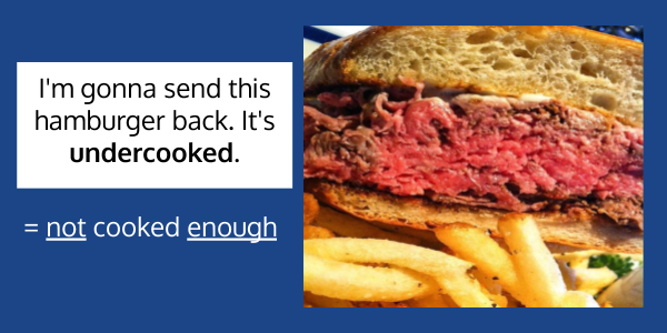 """""""I'm gonna send this hamburger back. It's undercooked.""""  = not cooked enough Over and Under as prefixes"""