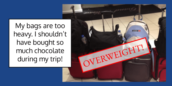 If your luggage is too heavy when you weigh it at the airport, your bags are overweight. Over and Under as prefixes